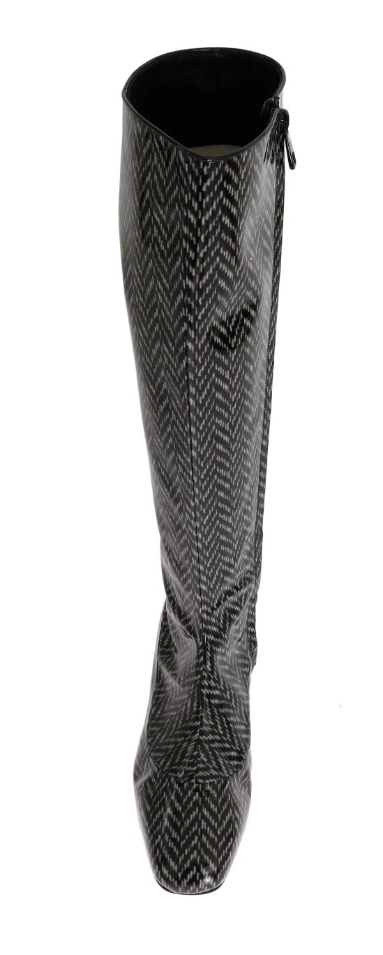 Black Gray Chevron Leather Boots
