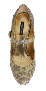 Gold Studs Crystal Embroidery Pumps