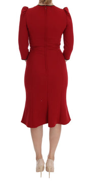 Red Wool Stretch Apple Crystal Dress