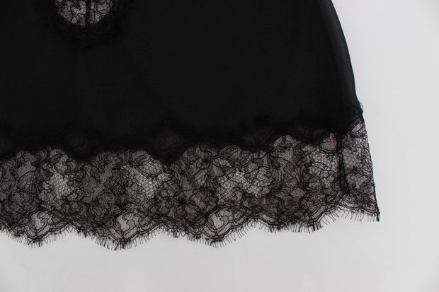 Black Silk Lace Babydoll Lingerie Top