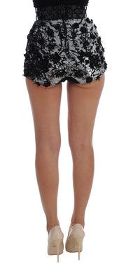 Black Silver Sequined Mini Shorts