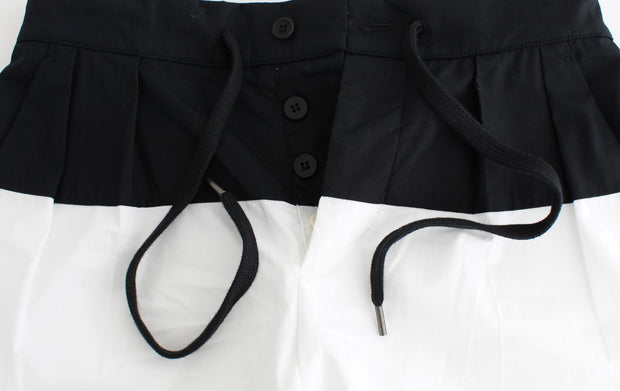Black White Aza Straight Cotton Shorts