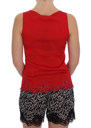 Red Silk Stretch Camisole Lingerie Blouse