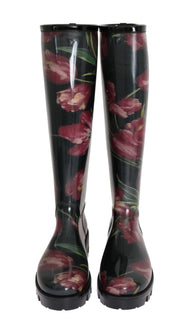 Black Rubber Red Tulip Print Boots