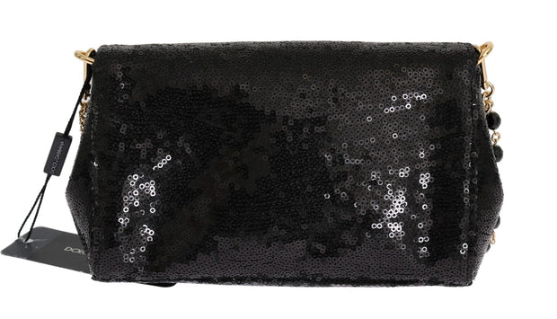 Black Crystal Sequined Clutch Bag