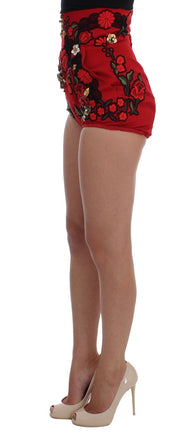 Red Silk Roses Crystal Mini Shorts