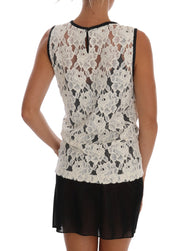 White Floral Lace Blouse Top