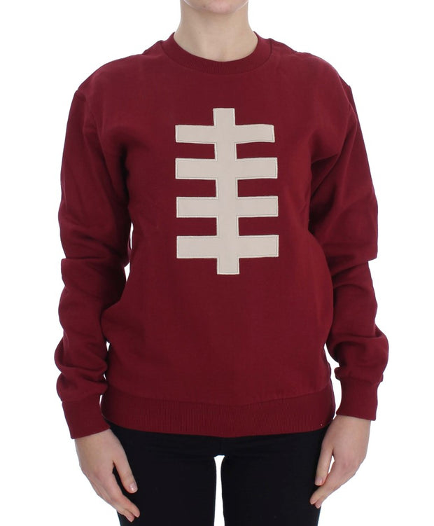 Red Cotton Crewneck Pullover Sweater