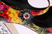 Floral Crystal Mary Janes Leather Shoes