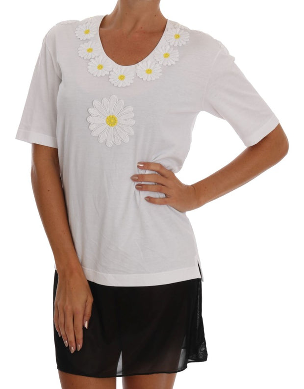 White Cotton Daisy Embroidered T-shirt