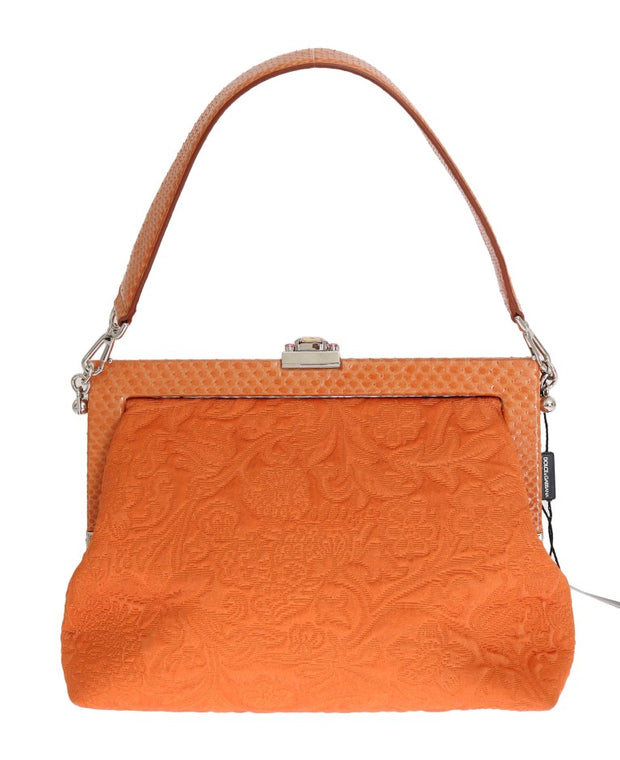Orange VANDA Snakeskin Brocade Crystal Bag
