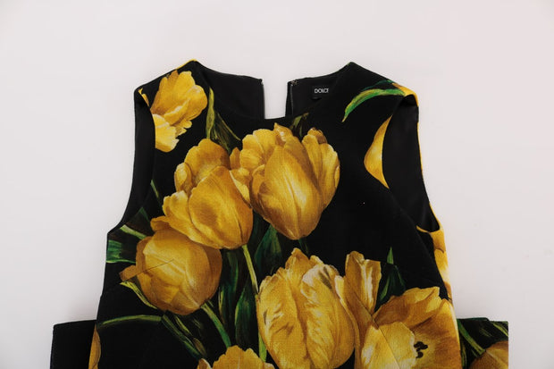 Black Yellow Tulip Print Wool Shift Dress