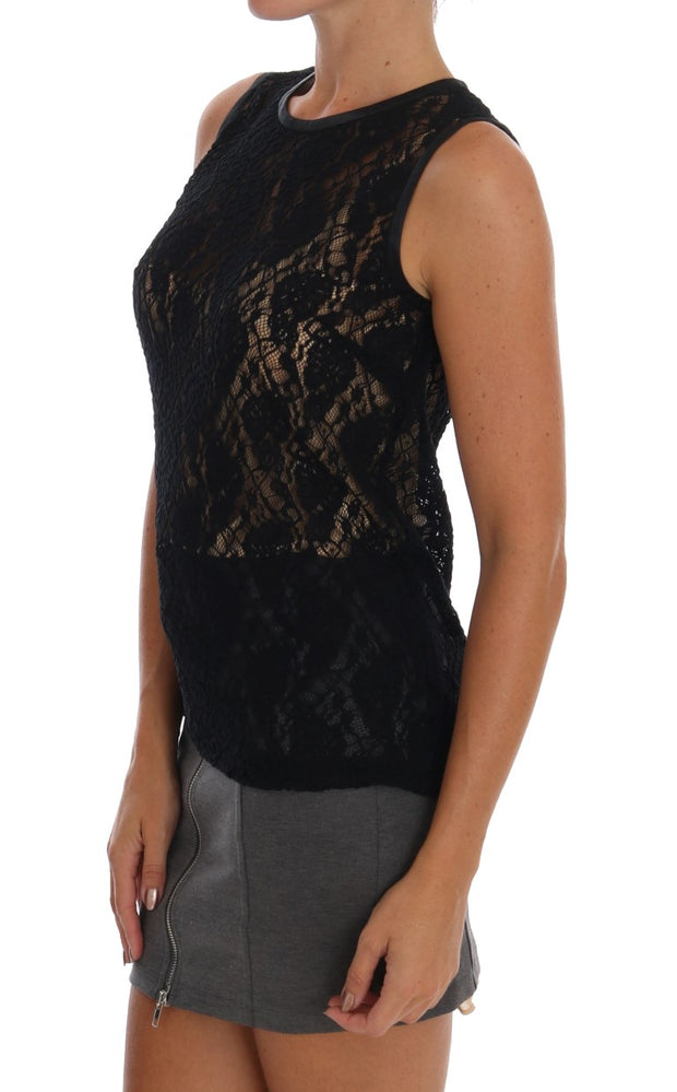 Black Floral Lace Blouse Top