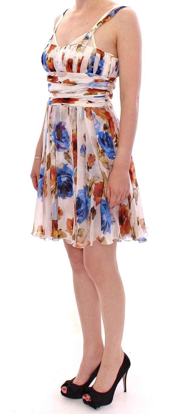 Multicolor floral silk shift dress