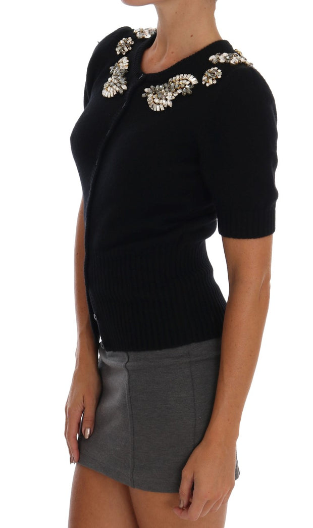 Black Cashmere Crystal Cardigan Sweater