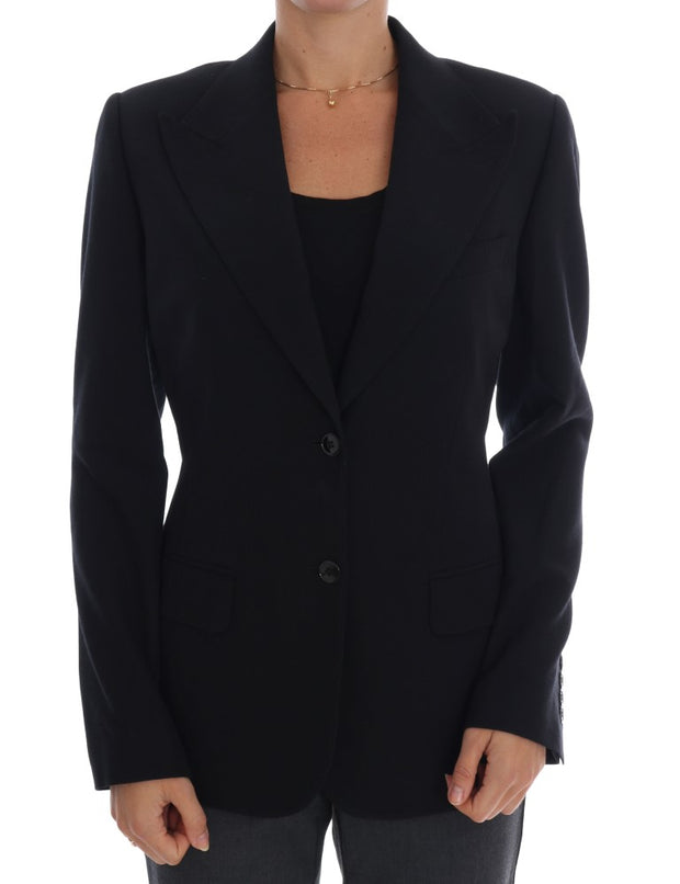 Black Wool Stretch Blazer Jacket