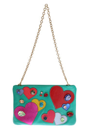 Blue Leather Heart Crystal Clutch Bag