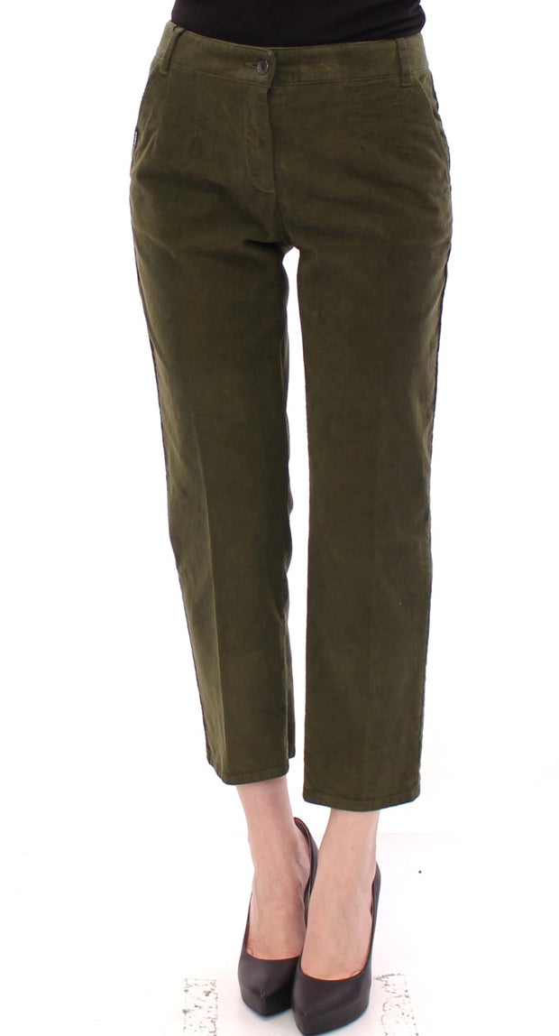 Green Cotton Cropped Corduroys Jeans Pants