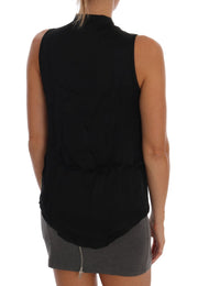 Black Sleeveless Viscose Blouse Top