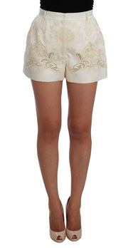 White Beige Lace Silk Blend Shorts