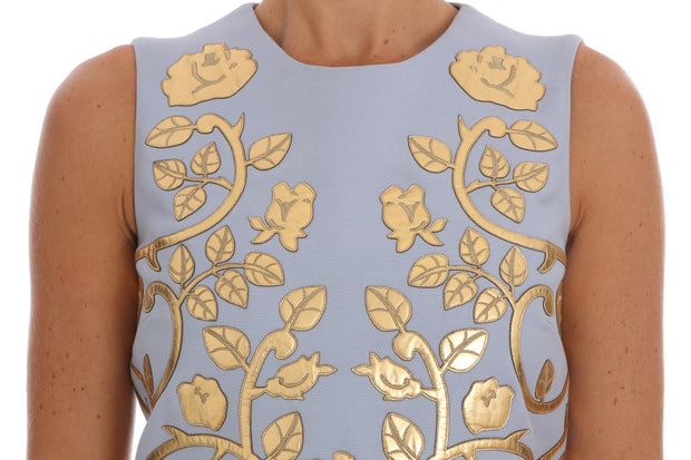 Blue Wool Gold Floral Leather Crystal Dress