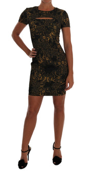 Gold Short Sleeve Sheath Printed Dress