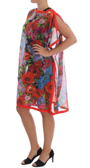 Multicolor Floral Silk Poncho Dress