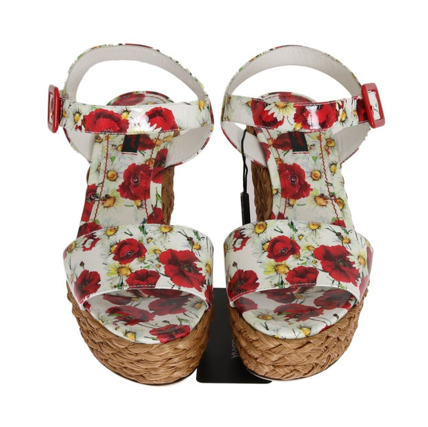 Floral Leather Straw Wedges Sandals
