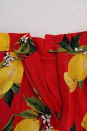 Red Lemon Print Pleated Skirt
