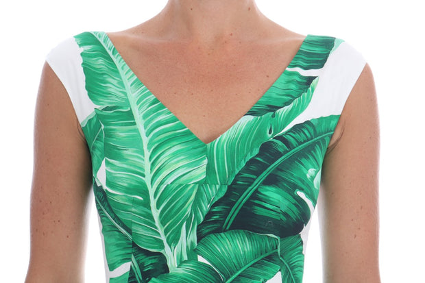 Banana Leaf Cotton A-Line Shift Dress