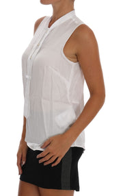 White Sleeveless Viscose Blouse Top