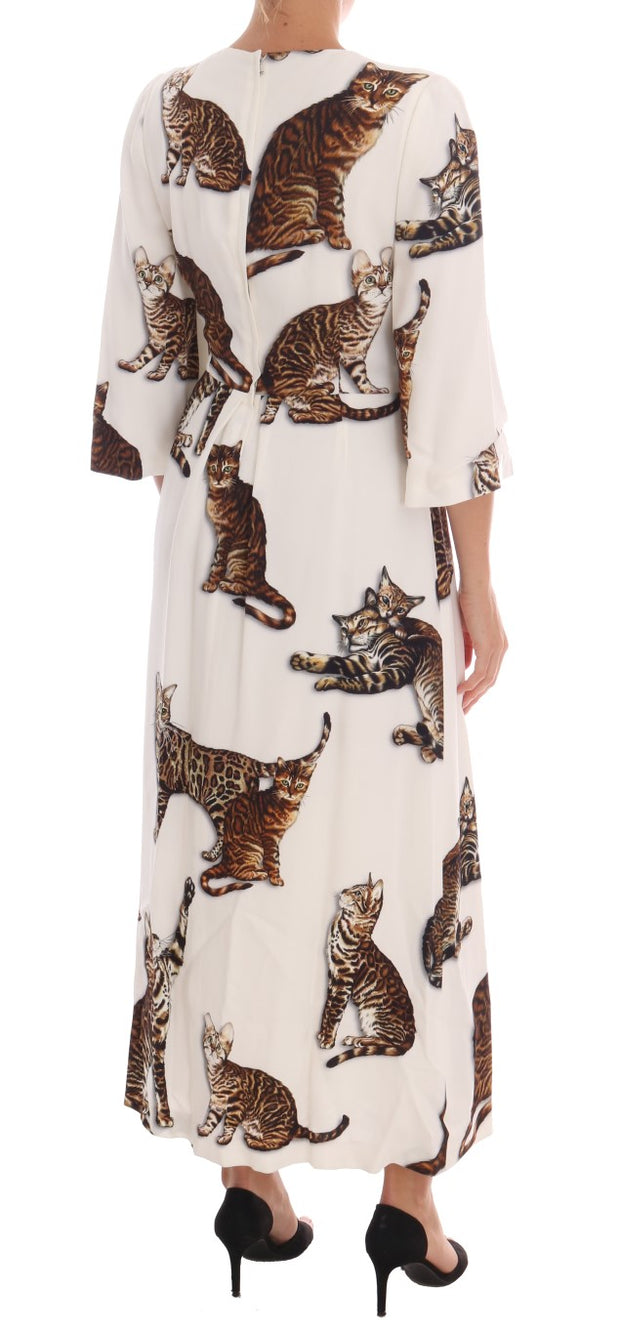 White Brown CAT Print Viscose Long Dress