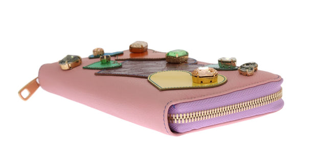 Pink Leather Continental Clutch Wallet