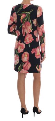Black Pink Tulips Wool Sheath Dress