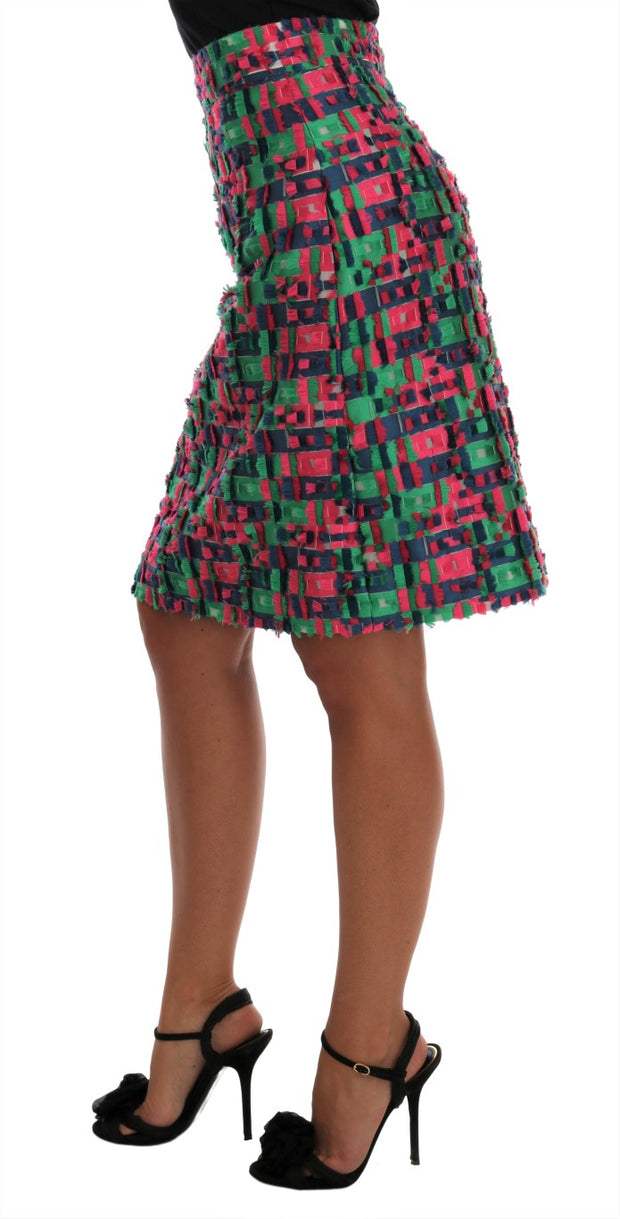 Pink Green Jacquard Pencil Skirt