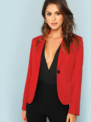 Single Button Pocket Notch Neck Blazer