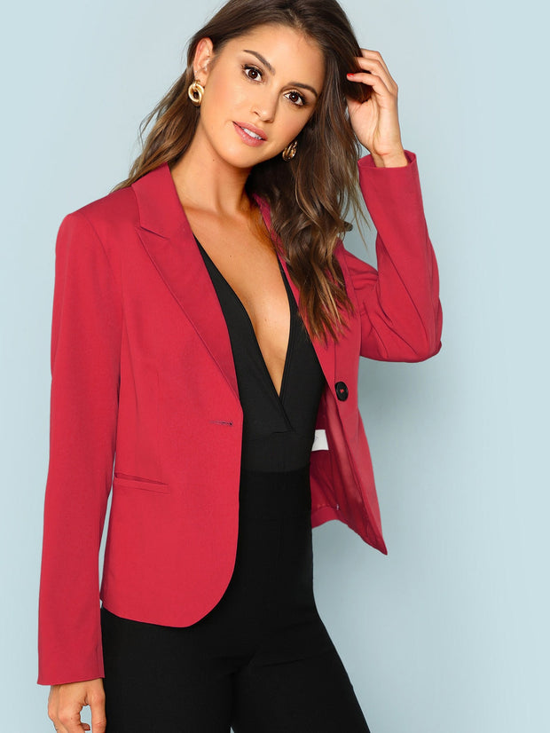Peak Collar One Button Blazer