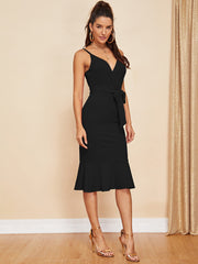Surplice Neck Fishtail Dress