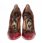 Red Leopard Leather Heels Pumps Shoes