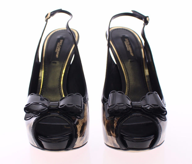 Black Leopard Leather Slingback Shoes