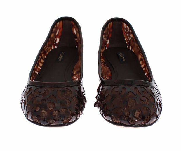 Brown Jacquard PVC Ballet Loafer Flats Shoes