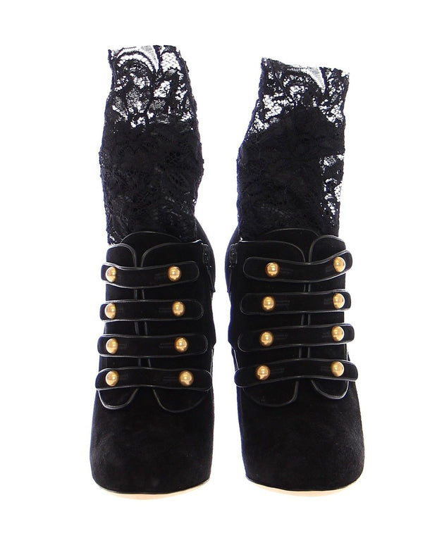 Black Suede Baroque Lace Platform Shoes