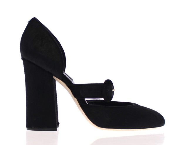 Black Pony Fur Leather Mary Janes Shoes