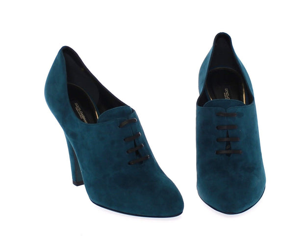 Blue Suede Leather Booties Shoes Pumps