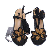 Black Beige Floral Leather Wedges Shoes