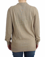 Beige Cardigan Wool Cashmere Sweater Knit