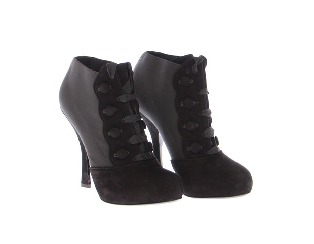 Black Leather Suede Ankle Boots Shoes