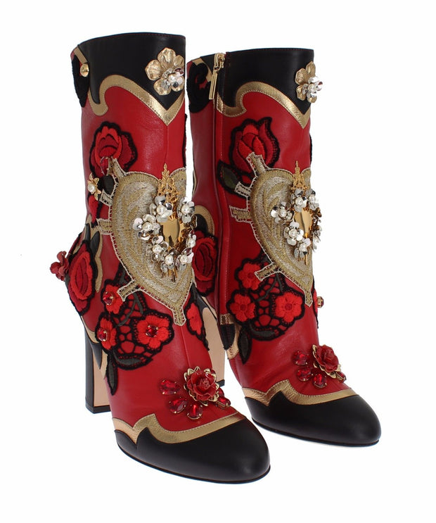 Roses Crystal Gold Heart Leather Boots Shoes