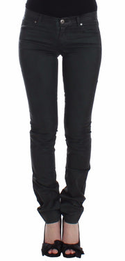 Green Slim Jeans Denim Pants Straight Leg Stretch