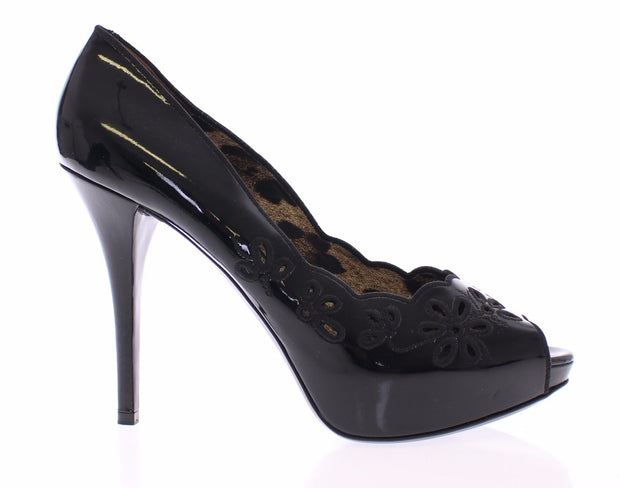 Black Patent Leather Platform Open Toe Shoes